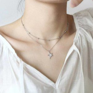 NEW Sterling Silver Cubic Zirconia Star Necklace